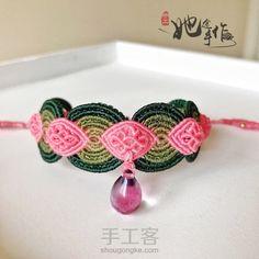 仿外网 粉色花朵手绳
