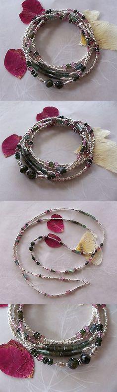 Bracelets 110635: Pink Green Tourmaline Gemstone Hill Tribe Sterling Silver Wrap Bracelet Necklace BUY IT NOW ONLY: $189.95