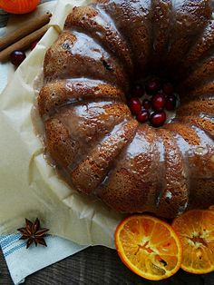 Cranberry citrus vegan bundt cake with cinnamon glaze