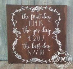 The Best Day Sign Engagement Sign First Date Sign Wedding Date Sign Rustic Wedding Sign Farmhou - March 17 2019 at Wedding Trends, Wedding Tips, Fall Wedding, Wedding Favors, Our Wedding, Wedding Planning, Dream Wedding, Wedding Invitations, Wedding Venues