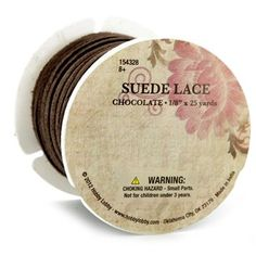 """Soft and durable, Chocolate Suede Lace Spool is great for use in jewelry making and many other craft projects. It's knot hard to find a good use for this suede lace!    Details:      Length: 25 Yards    Width: 1/8"""""""