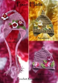 Pixie Hats Crochet Pattern - for newborn, babies and toddlers. Cozy all Fall, Winter and Spring.  www.etsy.com/shop/crochetrenaissance and www.ravelry.com/people/crochet41to5s