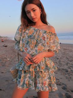Off-Shoulder Floral Tiered Dress Chic Outfits, Girl Outfits, Fashion Outfits, Ulzzang Fashion, Asian Fashion, Korean Summer Outfits, Tiered Dress, Asian Girl, Heather Flower