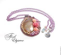 """Купить Кулон """" Florale. Нежная"""" - кремовый, пыльная роза, розовый, нежность романтика стиль"""