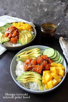 Mango teriyaki salmon poke bowl- With homemade teriyaki sauce, this bowl is full of goodness and absolutely delicious. - Mango teriyaki salmon poke bowl- With homemade teriyaki sauce, this bowl is full of goodness and absolutely delicious. Easy Salmon Recipes, Asian Recipes, Healthy Recipes, Shrimp Recipes, Tasty Meal, Delicious Food, Baked Teriyaki Salmon, Teriyaki Glaze, Baked Salmon