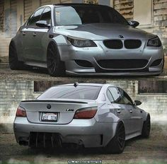 BMW E60 M5 grey wide slammed