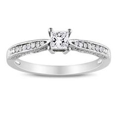 Princess-Cut Lab-Created White Sapphire and Diamond Accent Promise Ring in Sterling Silver -- adorable