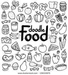 Doodle Food Set Of 50 Various Products, Fruits, Vegetables And Much More. Stock Vector Illustration 136533875 : Shutterstock