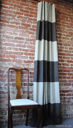 108L x 46W Striped Drapery Panel  Pick your colors por MarthaAndAsh, $170.00