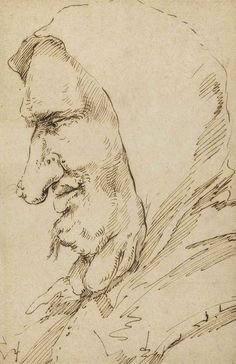 Jusepe de Ribera, lo Spagnoletto (Valencia 1591-1652 Naples). Head of a man with growths on his neck, in profile to the left, pen and brown ink, 25.1 x 16.5 cm.