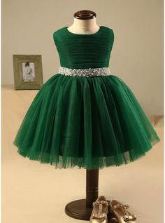 A-Line/Princess Knee-length Flower Girl Dress - Polyester/Cotton Sleeveless Scoop Neck With Rhinestone