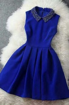 cute decorated collar sapphire blue dress - this would look cute for a new years party dress or something formal Pretty Dresses, Pretty Outfits, Beautiful Dresses, Gorgeous Dress, Short Dresses, Prom Dresses, Formal Dresses, Mini Dresses, Evening Dresses