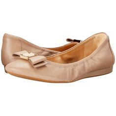Cole Haan Tali Bow Ballet (Maple Sugar) Women's Slip on  Shoes ($170) ❤ liked on Polyvore featuring shoes, flats, cole haan flats, bow flats, round toe ballet flats, ballet shoes and round toe flats