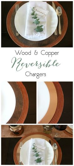 Make these perfect circle chargers with this one great secret! Add anything to the other side, including wood stain, copper, marble, or custom vinyl designs! Love this DIY tutorial!