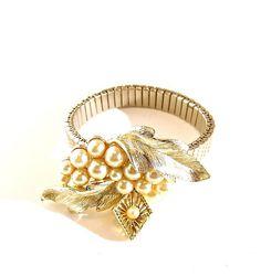 Vintage Pearl Bracelet Watch Band Jewelry