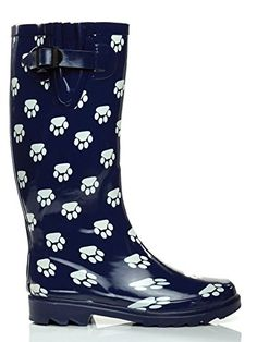 Essential Apparel Womens Paws MidCalf Waterproof Rain Boots Blue 5 ** Read more  at the image link.