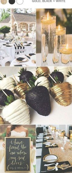 gold black and white wedding colors for 2018 ideas gold Top 10 Wedding . gold black and white wedding colors for 2018 ideas gold Top 10 Wedding Color Ideas for 201 Gold Wedding Colors, Gold Wedding Theme, Summer Wedding Colors, Wedding Color Schemes, Wedding Flowers, Black And White Wedding Theme, Black Gold Weddings, Black Wedding Decor, Black Gold Party