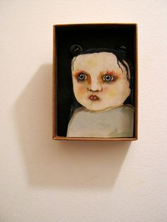 Little monster vampire girl  , Shadow box art, Diorama , sandy mastroni,Small art, Wall art collection,