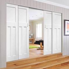 Quad Telescopic Pocket DX 1930's Door - Primed.    #perioddoors #whitedoors #slidingdoors #pocketdoors #hiddendoors #dissapearingdoors #doors #telescopicdoors #quaddoors #xljoinerydoors