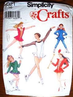 Simplicity 9321 Girls' Pattern Skating Majorette Cheerleading Outfit Halloween Costume Size BB 12 14 Dance Recital