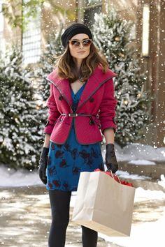 54bb59d56c #Kensie Textured Jacket and Printed Dress New Wardrobe, Wardrobe Ideas,  Cozy Fashion,