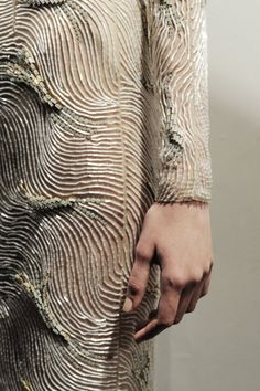 Gosh girls look at this! Marios Schwab, fall 2012 embroidery, a 3D effect in tube beads and rhinestones. I LIKE IT!!!