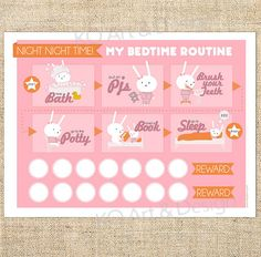 Printable Bedtime Routine Chart for Girls, Toddlers, kids. Pink Bunny Template PDF, Instant Download