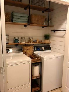 Industrial shelving, little shelf over washer dryer, and shiplap in laundry room closet.