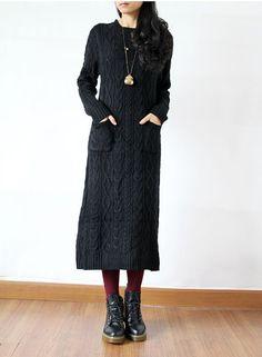 Black Long Sweater dress Knitwear Turtleneck by fashionwomanstore, $60.00