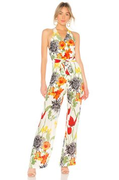 65fef0ad1bc AliceOlivia Lucie CYPRUS Halter Top JUMPSUIT Floral Print matching belt NEW   fashion  clothing