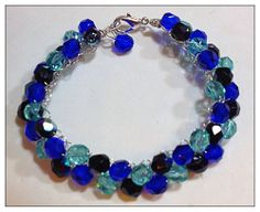 Summertime Blues Bracelet - Czech Crystals - Cobalt Blue, Aqua, and Midnight AB Blue Black - can custom make your colors - Brides and Bridesmaid Gifts - Bid on it $9.99 or buy it now $19.99 Free Shipping in USA and USA designer made by Frenchy Loeb, Saratoga Springs, NY