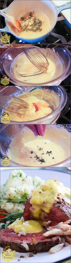 Béarnaise Sauce - Just divine on top of a grilled filet Mignon with a scattered pile of lump crab meat!  This step-by-step photo tutorial will show you how to make it!