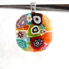 Millefiori Glass Jewelry | Pendant Necklace Jewelry Millefiori Fused Glass Artisan Handcrafted ...