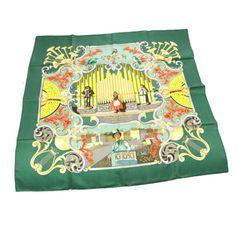 ced403eabb5a Authentic HERMES Logos Scarf Handkerchief Green Vintage Silk 100% France  V13854