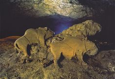 * Paleolithic Art -  c. 14,000 year old Bull and Cow Bison found in the Le Tuc d'Audoubert cave, Ariege, France.*