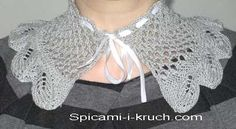воротник спицами Lace Knitting Patterns, Knitting Stitches, Crochet Collar, Easy Knitting, Crochet Necklace, Points, Fashion, Leaves, Tricot