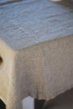 natural linen table cloth for long farm table {legs exposed} Farm Table Legs, Vintage Linen, Linen Tablecloth, Kitchen Essentials, Natural Linen, Farm House, Cotton Linen, Linens, Blankets