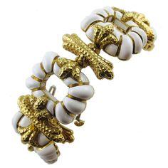 1970s David Webb Enameled Gold Bracelet | From a unique collection of vintage more bracelets at https://www.1stdibs.com/jewelry/bracelets/more-bracelets/