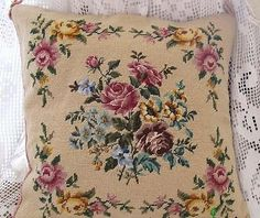 "wool Needlepoint Pillow cushion cover 16""x16"" item no 1364"