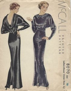 1934-Vintage-Sewing-Pattern-B34-EVENING-DINNER-DRESS-1296 Vintage Dress Patterns, Vintage Dresses, Dress Making Patterns, Clothing Patterns, Vintage Outfits, Vintage Clothing, Retro Fashion, Vintage Fashion, 1930s Fashion