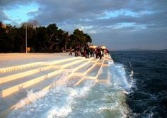 Zedar Croacia Morske orguije. The singing sea. Continuously plays music powered by waves that flow through tubes located underneath a set of large marble steps.
