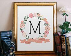 DIGITAL Monogram Girl Nursery Letter Print Floral by StopGrowingUp