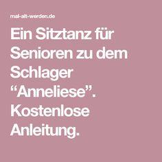 """Ein Sitztanz für Senioren zu dem Schlager """"Anneliese"""". Kostenlose Anleitung."""