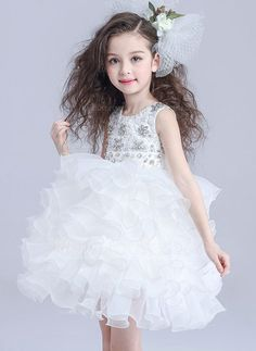 A-Line Organza/Satin Flower Girl Dresses/Dancewear/Tutu Dresses/Daily Dresses With Beading (010089047)