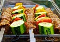 Marinated Pork Kebabs and Vegs