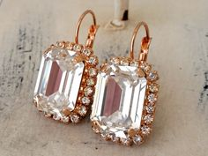 Rose gold clear white crystal earrings by EldorTinaJewelry on Etsy