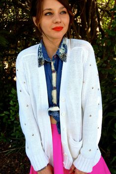 Studded Sleeve Cardigan by RockyClothing on Etsy, $40.00