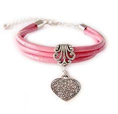 """Bransoletka damska """"ja i ty"""", z różowego rzemyka z zawieszką w kształcie serca - prezent dla zakochanych"""