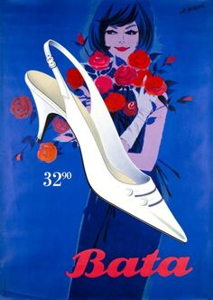Bata shoe advertisement, illustrated by Al Borer, 1950. Bada bing, bata shoe? :p #vintage #advertising #poster