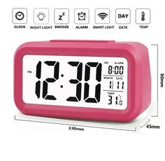 "Pink 5.4 "" Silent Alarm Clock w/ Date Temperature Women Digital Display LED  #EIALA #Novelty"